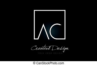 AC Square Frame Letter Logo Design with Black and White Colors.