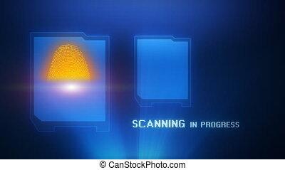 ac, vingerafdruk, projectie, scanderen