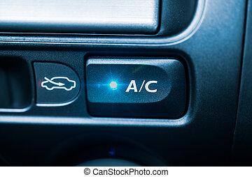 ac, voiture, air, bouton, climatiseur