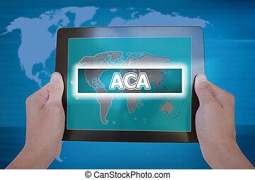 aca, of, affordable, care, werken, meldingsbord, op, tablet, scherm, gehouden, door, zakenman, hands-, gobal, handel concept