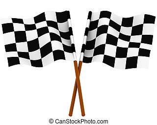 acabamento, bandeira checkered