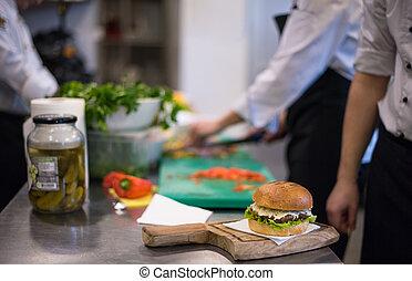 acabamento, hambúrguer, cozinheiro