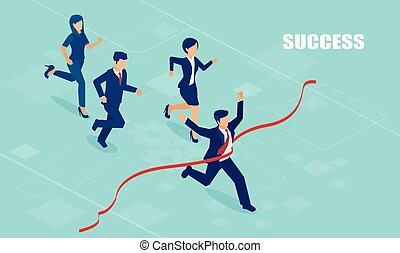 acabamento, seguido, competidores, vetorial, vermelho, cruzamento, homem negócios, linha, rasgando, acabamento, fita, primeiro