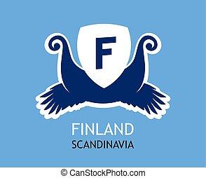 acabamento, vikings, flag., companhia, finland, cores, vetorial, simbolismo, logotipo, nacional, viagem