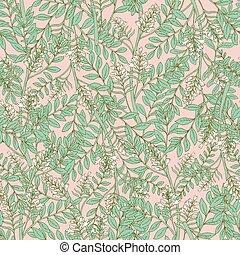 acacia, tendre, inflorescences, blanc, seamless, modèle, vecteur, floral, botanique, impression, fleurs, illustration, art, magnifique, leaves., deco, fleurir, arrière-plan., wallpaper., style, rose, textile