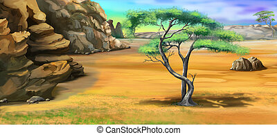 Acacia Tree Near the Mountain - Digital Painting,...