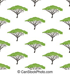 Acacia tree seamless pattern on the white background. Vector...