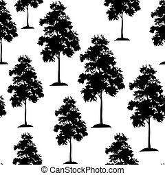 Acacia Trees Seamless - Seamless Pattern, Acacia Tree, Black...