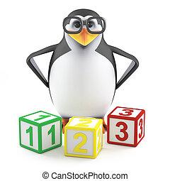 académico, 3d, enseña, matemáticas, pingüino