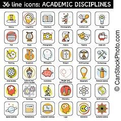 académico, conjunto, disciplinas, iconos