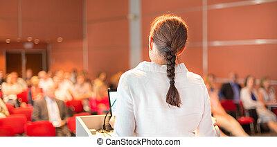 académico, profesor, dictar una conferencia, faculty., hembra