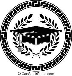 acadêmico, boné, quadrado