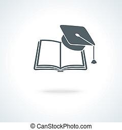 acadêmico, boné, quadrado, livro aberto