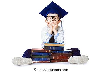 acadêmico, chapéu, criança