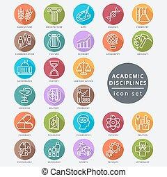 acadêmico, disciplinas, ícone