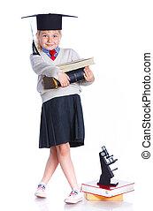 acadêmico, pequeno, chapéu, menina