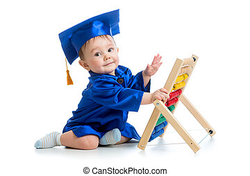 academic baby playing with abacus toy