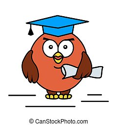 Academic cartoon owl. Vector illustration