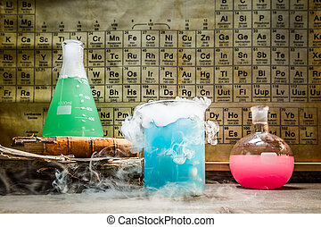 Academic chemical lab with periodic table of elements
