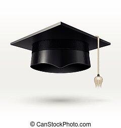Academic graduation cap, hat. realistic vector illustration