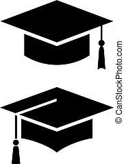 Academic graduation cap vector icon