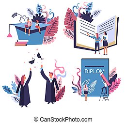 Academic hat and graduated students, school or university graduation isolated icons
