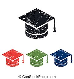 Academic hat grunge icon set - Colored grunge icon set with...