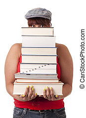 College student carrying a heavy stack of textbooks