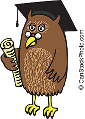 Academic Owl - Owl with diploma and square cap