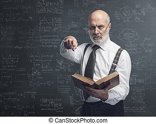 Academic professor holding a book and pointing