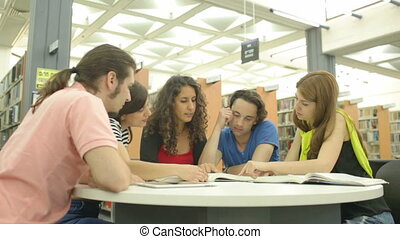 Academic Studies - Young people studying in the library and...