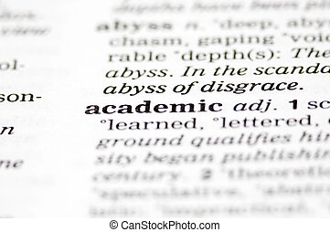 The word academic written into a dictionary