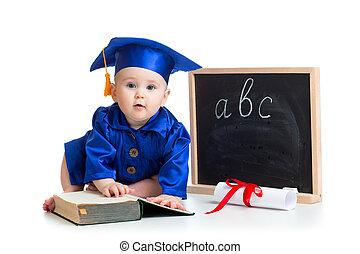 academician, ポインター, 赤ん坊, 黒板, 衣服