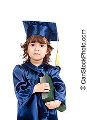 academician, girl, enfant, livre, vêtements, mignon