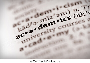 "Academics - Selective focus on the word ""academics"". Many ..."