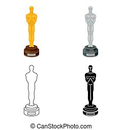 Academy award icon in cartoon style isolated on white background. Films and cinema symbol stock vector illustration.