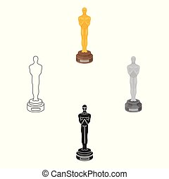 Academy award icon in cartoon,black style isolated on white background. Films and cinema symbol stock vector illustration.