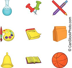 Academy icons set, cartoon style