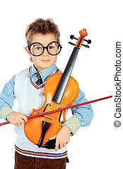 academy of music - Portrait of a boy posing with his violin....