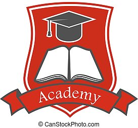Academy shield emblem. Vector icon for university, college, school.