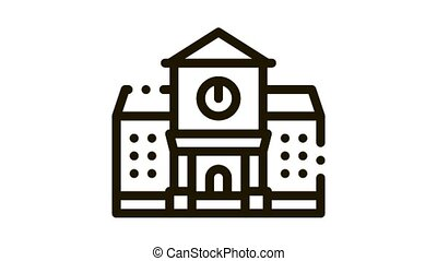 Academy Study Building Icon Animation. black Academy Study Building animated icon on white background