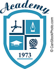 Academy symbol with science elements