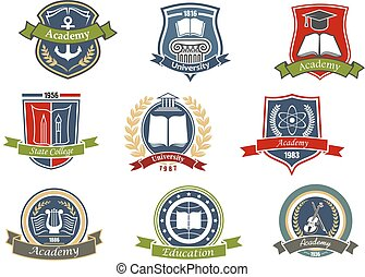 Academy, university and college heraldic emblems