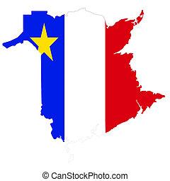 Acadian flag inside the outline of New Brunswick - Acadian ...