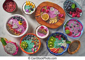 Acai bowl smoothie and Spirulina algae with berries