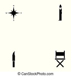 acampamento, ícone, jogo
