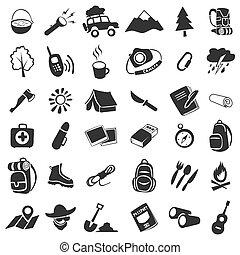 acampamento, ícones
