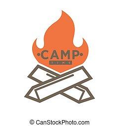 acampamento, acampamento, isolado, forest., vetorial, lugar, barraca