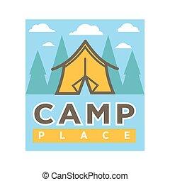 acampamento, acampamento, isolado, vetorial, floresta, barraca, ícone