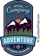 acampamento, aventura, emblema, emblema